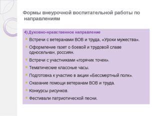 Формы внеурочной воспитательной работы по направлениям 4) Духовно-нрав