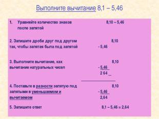 Выполните вычитание 8,1 – 5,46 Уравняйте количество знаков после запятой 8,10