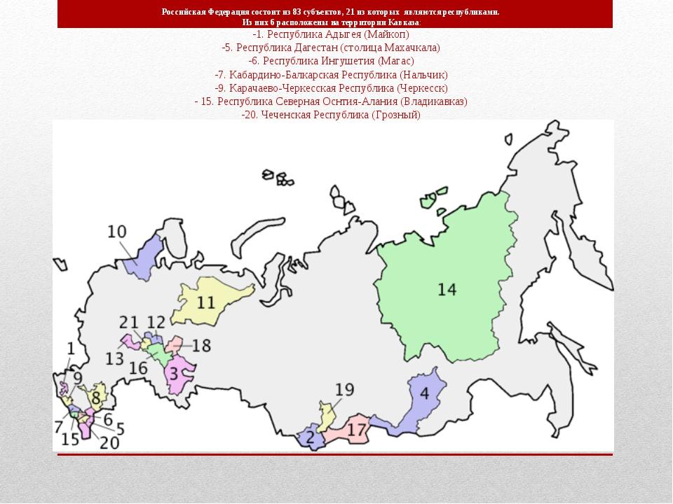 Российская Федерация состоит из 83 субъектов, 21 из которых являются республи...