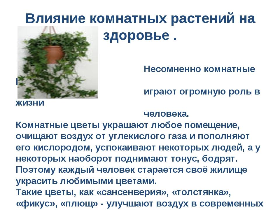 Несомненно комнатные растения играют огромную роль в жизни человека. Комнатн...