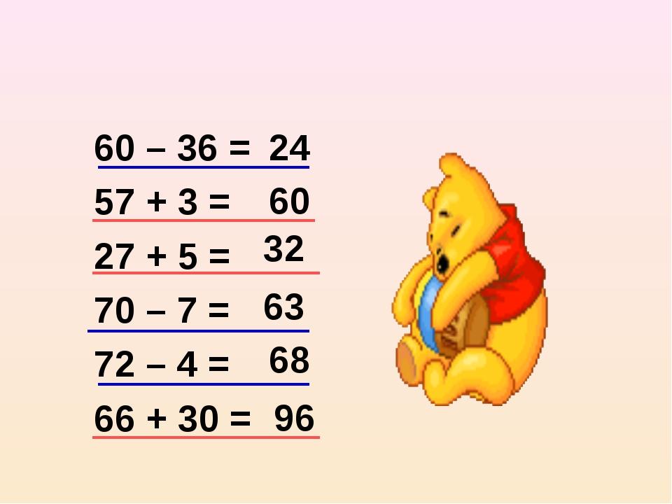 60 – 36 = 57 + 3 = 27 + 5 = 70 – 7 = 72 – 4 = 66 + 30 = 32 60 63 68 96 24
