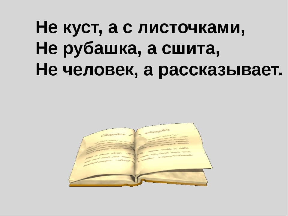 Не куст, а с листочками, Не рубашка, а сшита, Не человек, а рассказывает.