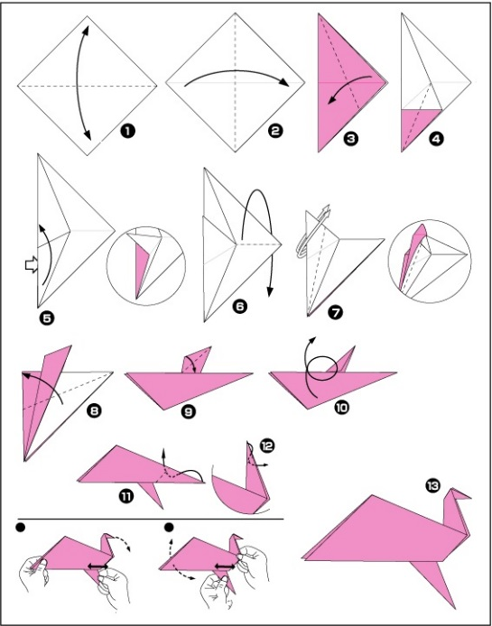 Оригами птицы схемы