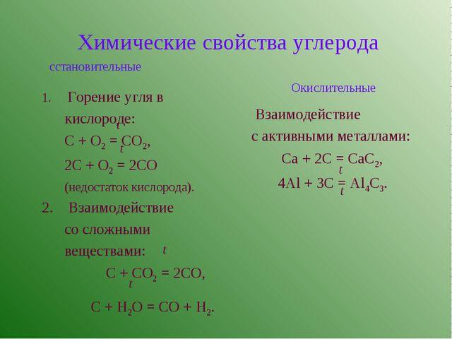 Химические свойства углерода сстановительные Окислительные Горение угля в ки...
