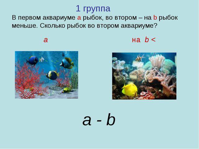 1 группа В первом аквариуме а рыбок, во втором – на b рыбок меньше. Сколько...