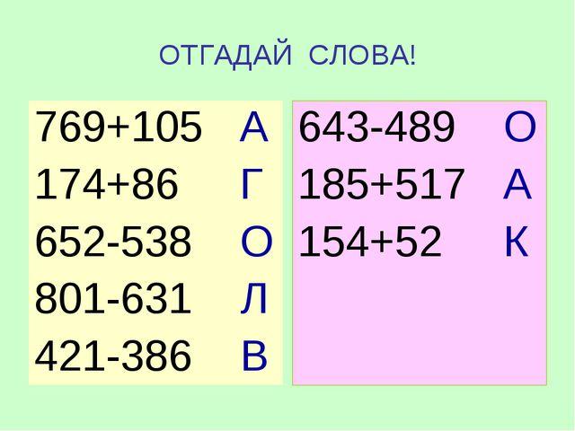 ОТГАДАЙ СЛОВА! 769+105 А 174+86 Г 652-538 О 801-631 Л 421-386 В 643-489 О 185...