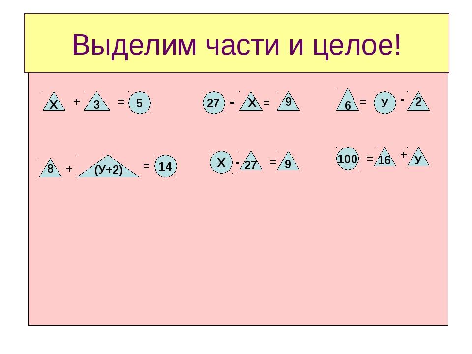 Выделим части и целое! Х + 3 = 5 27 - Х = 9 6 = У - 2 100 Х 14 8 + (У+2) = -...