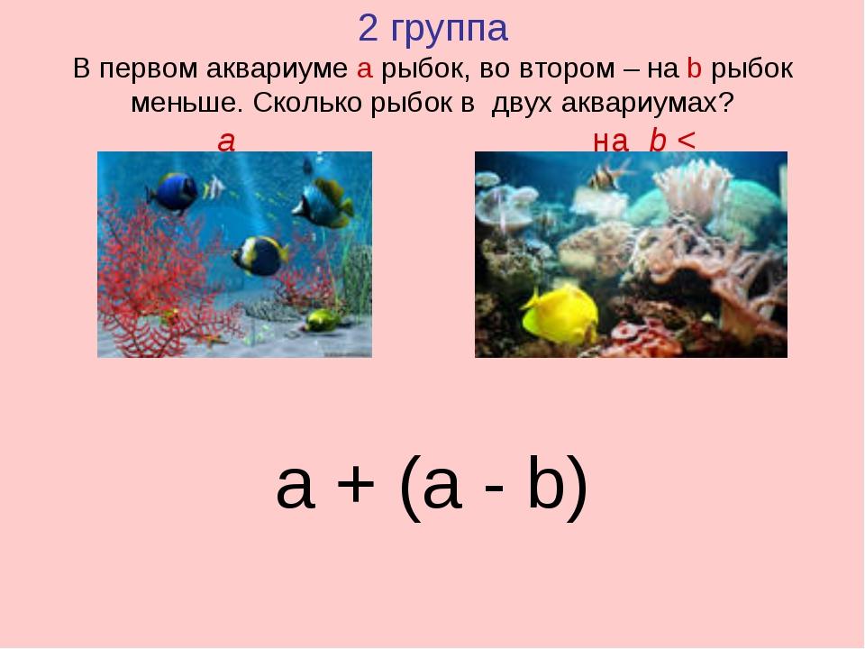 2 группа В первом аквариуме а рыбок, во втором – на b рыбок меньше. Сколько р...