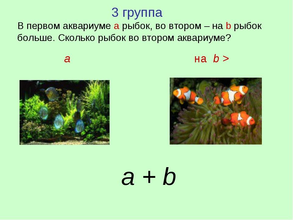 3 группа В первом аквариуме а рыбок, во втором – на b рыбок больше. Сколько...