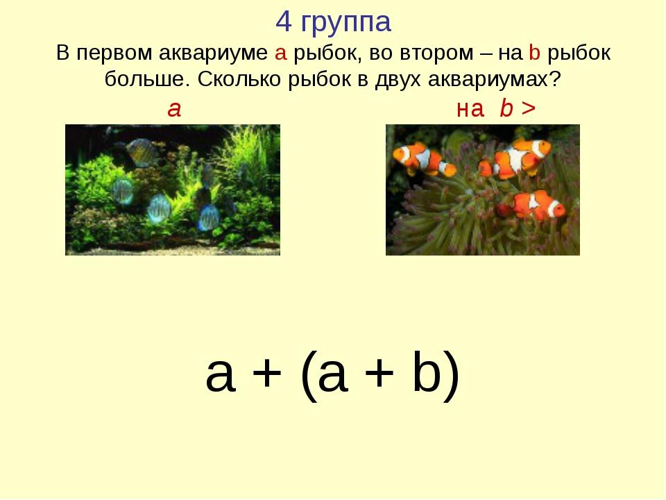 4 группа В первом аквариуме а рыбок, во втором – на b рыбок больше. Сколько р...