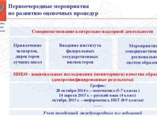 Первоочередные мероприятия по развитию оценочных процедур Совершенствование