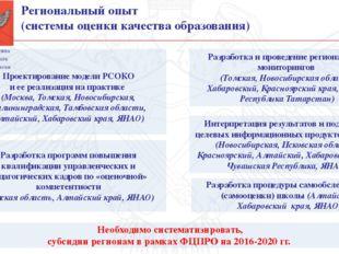 Региональный опыт (системы оценки качества образования) Необходимо систематиз