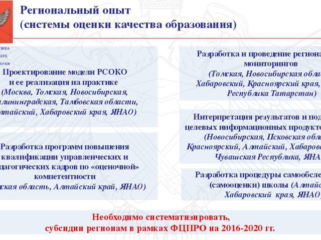 Региональный опыт (системы оценки качества образования) Необходимо систематиз...