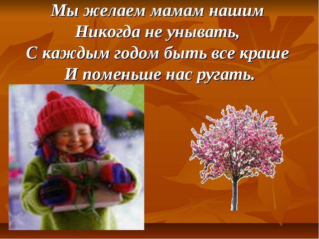 Мы желаем мамам нашим Никогда не унывать, С каждым годом быть все краше И пом...