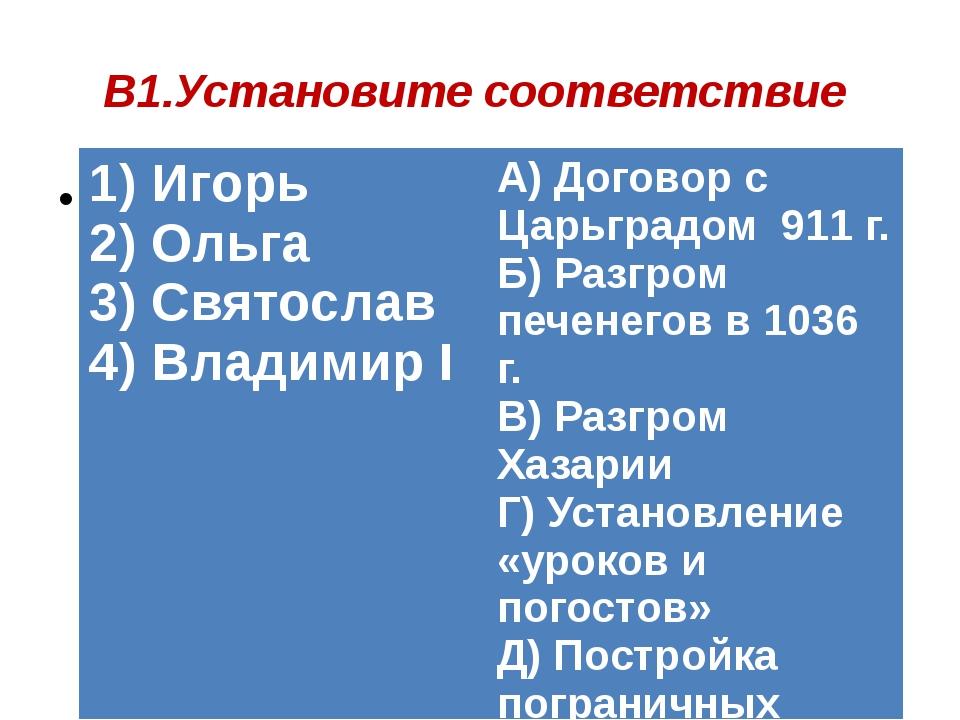 В1.Установите соответствие 1) Игорь 2) Ольга 3) Святослав 4) ВладимирI А) Дог...