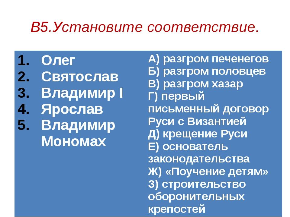 В5.Установите соответствие. Олег Святослав ВладимирI Ярослав Владимир Мономах...