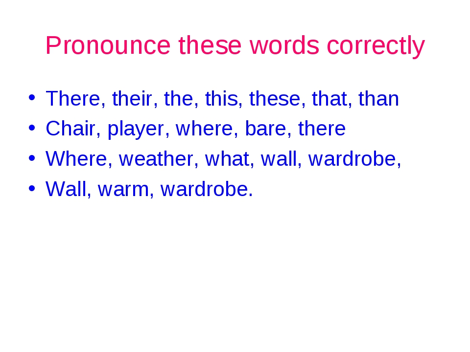 Pronounce these words correctly There, their, the, this, these, that, than Ch...