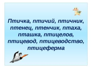 Птичка, птичий, птичник, птенец, птенчик, птаха, пташка, птицелов, птицевод,