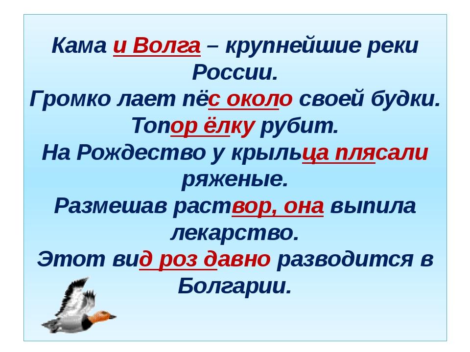 Кама и Волга – крупнейшие реки России. Громко лает пёс около своей будки. Топ...