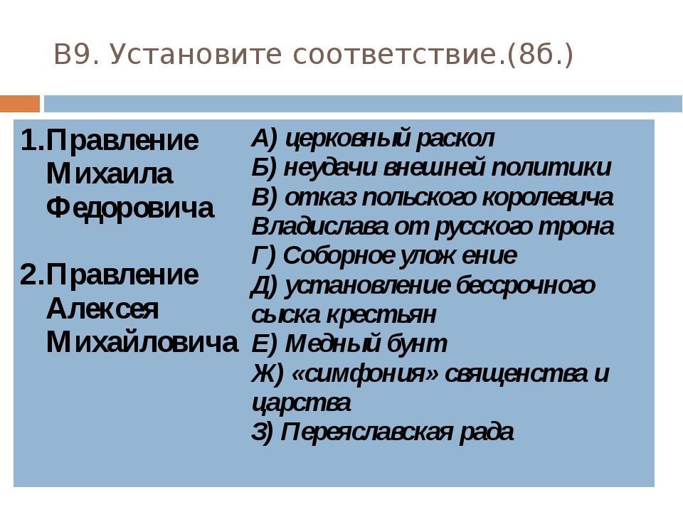 В9. Установите соответствие.(8б.) Правление Михаила Федоровича Правление Алек...