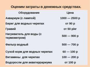 Оценим затраты в денежных средствах.  Оборудование Цена Аквариум (с лампой)