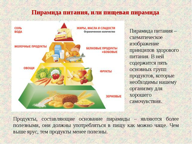 Пирамида питания, или пищевая пирамида Продукты, составляющие основание пирам...