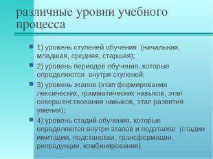 различные уровни учебного процесса 1) уровень ступеней обучения (начальная, м