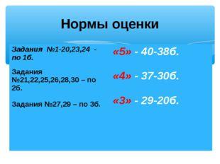 Нормы оценки Задания №1-20,23,24 - по 1б. Задания №21,22,25,26,28,30 – по 2б.