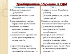 Традиционное обучение и ТДМ Традиционное обучение: ТДМ : 1) базируется на при