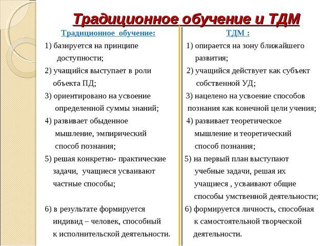 Традиционное обучение и ТДМ Традиционное обучение: ТДМ : 1) базируется на при...