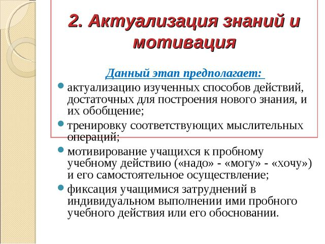 2. Актуализация знаний и мотивация Данный этап предполагает: актуализацию из...