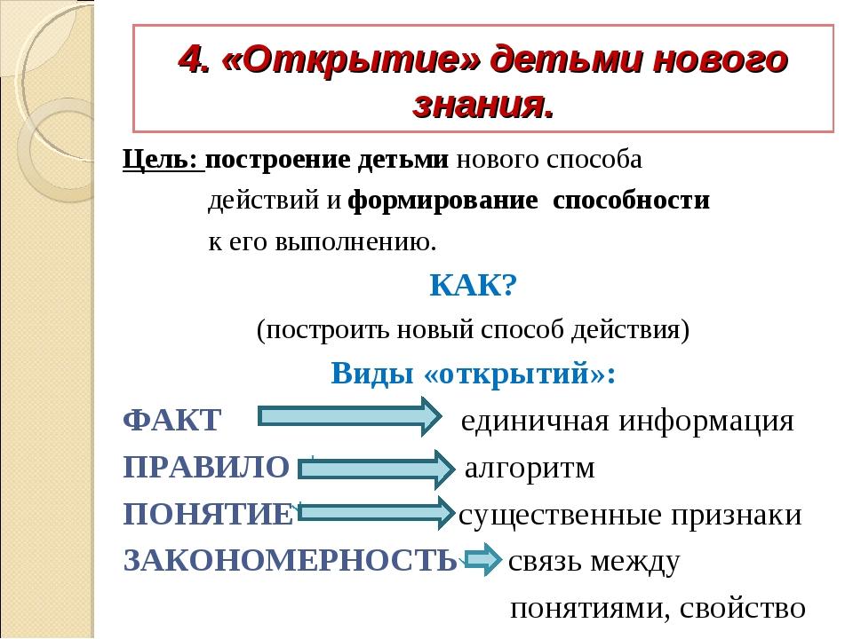 4. «Открытие» детьми нового знания. Цель: построение детьми нового способа де...
