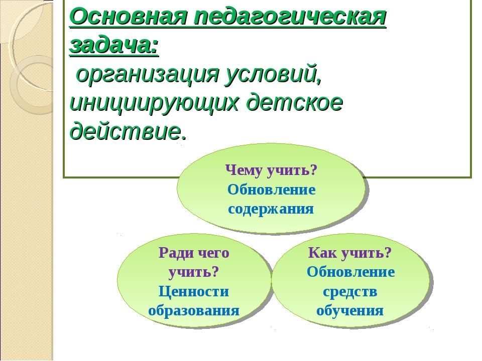 Основная педагогическая задача: организация условий, инициирующих детское де...