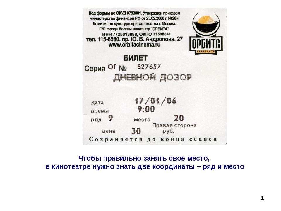 Чтобы правильно занять свое место, в кинотеатре нужно знать две координаты –...