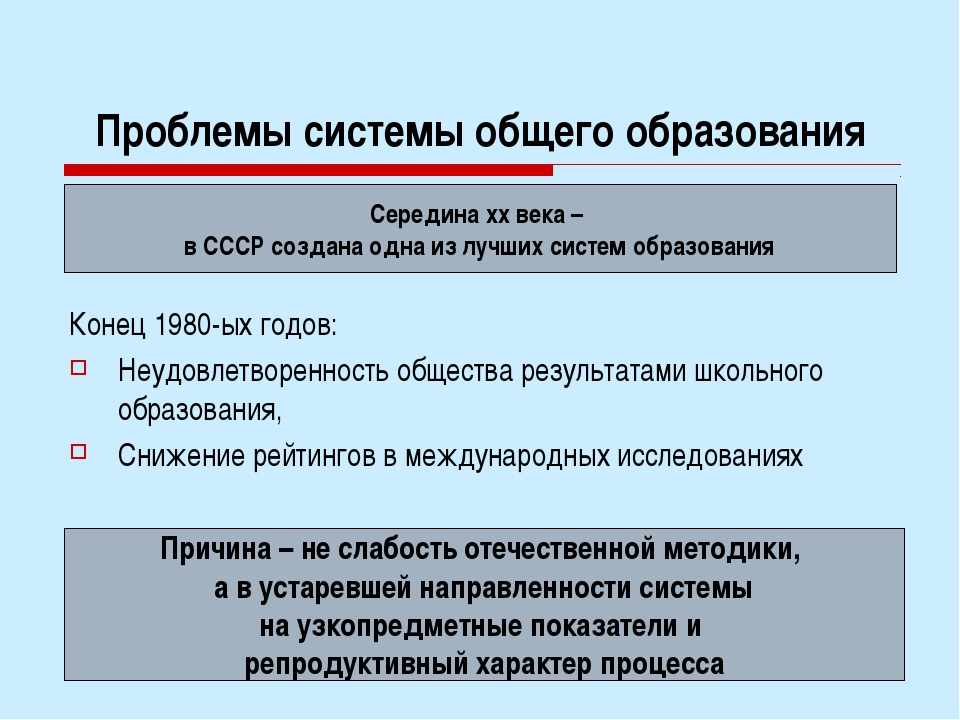 Проблемы системы общего образования Конец 1980-ых годов: Неудовлетворенность...