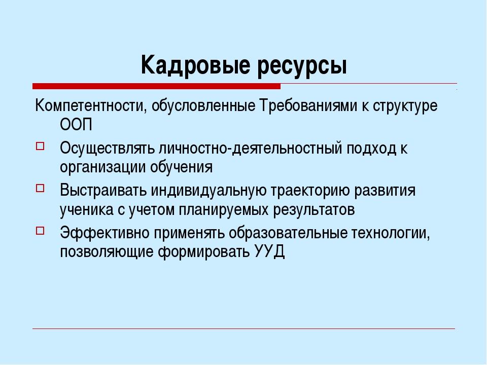 Кадровые ресурсы Компетентности, обусловленные Требованиями к структуре ООП О...