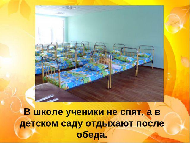 В школе ученики не спят, а в детском саду отдыхают после обеда.