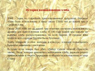 История возникновения хлеба Хлеб – один из старейших приготавливаемых продук
