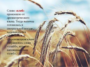 Слово «хлеб» произошло от древнегреческого языка. Тогда выпечка готовилась в