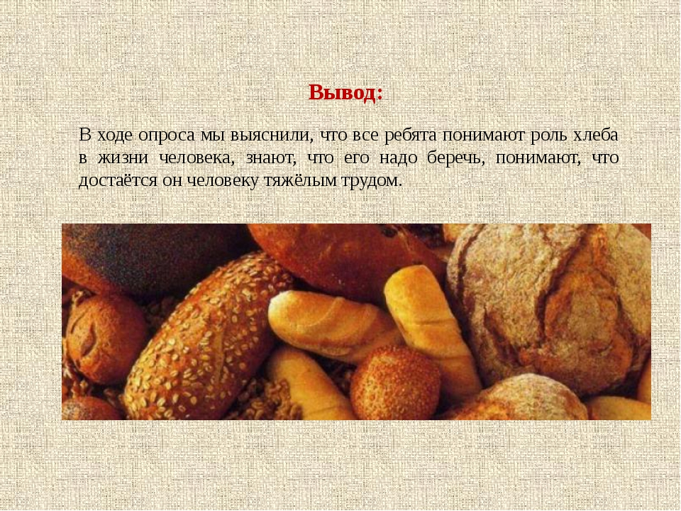Вывод: В ходе опроса мы выяснили, что все ребята понимают роль хлеба в жизни...