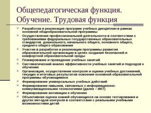 Общепедагогическая функция. Обучение. Трудовая функция Разработка и реализаци