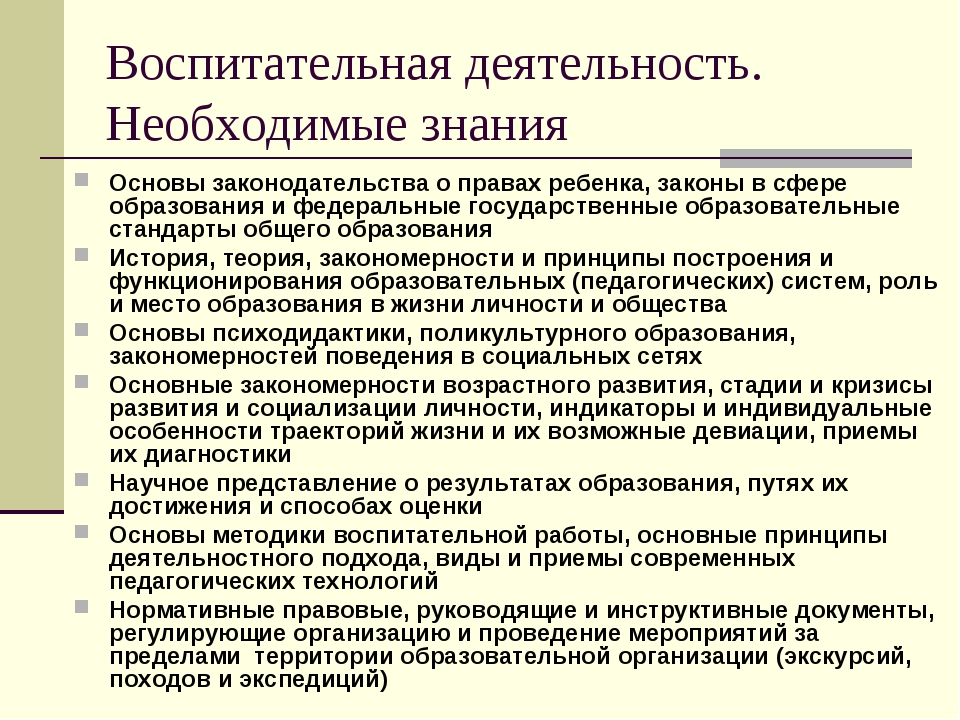 Воспитательная деятельность. Необходимые знания Основы законодательства о пра...