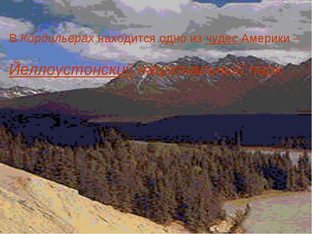 В Кордильерах находится одно из чудес Америки – Йеллоустонский национальный...