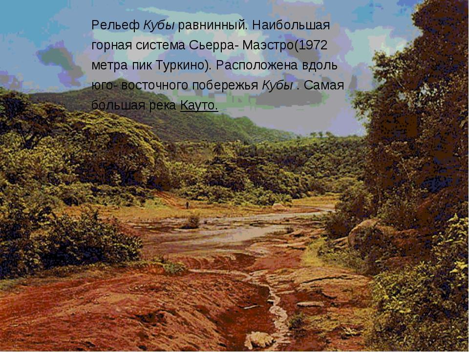Рельеф Кубы равнинный. Наибольшая горная система Сьерра- Маэстро(1972 метра п...