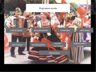Народные песни хороводные исторические семейные любовные шуточные календарны