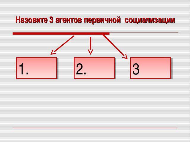Назовите 3 агентов первичной социализации 1. 2. 3