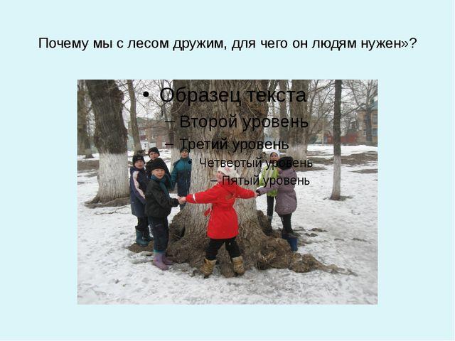 Почему мы с лесом дружим, для чего он людям нужен»?