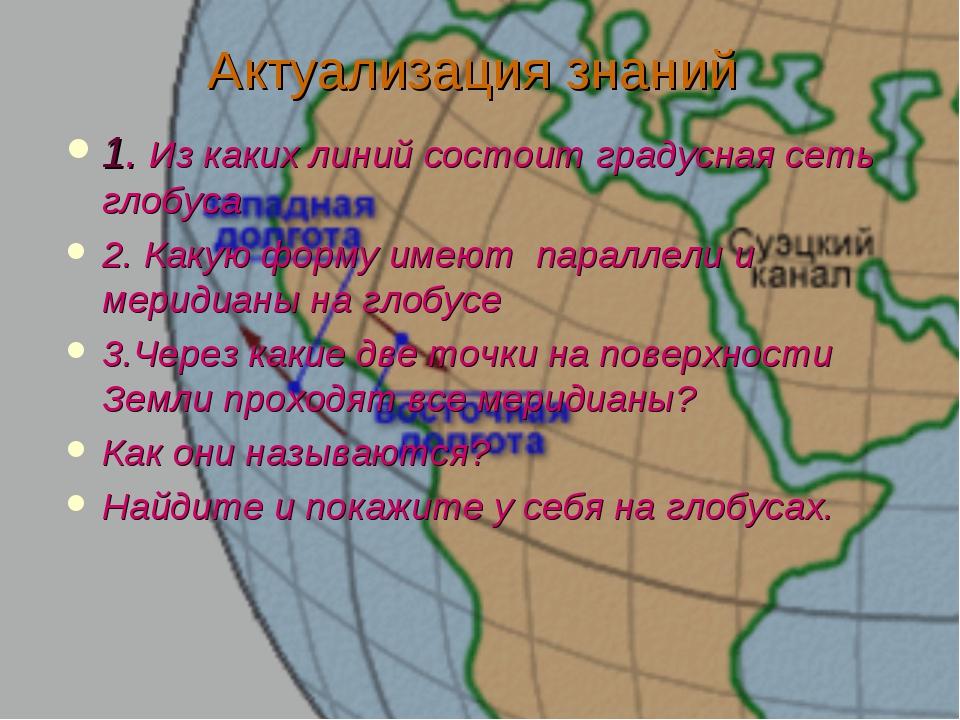 Актуализация знаний 1. Из каких линий состоит градусная сеть глобуса 2. Какую...