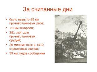 За считанные дни было вырыто 85 км противотанковых рвов; 21 км эскарпов; 381