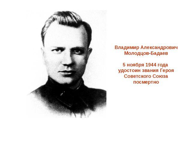Владимир Александрович Молодцов-Бадаев 5 ноября 1944 года удостоин звания Гер...